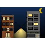 Vector graphics of city street with lights