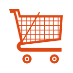 Supermarket trolley vector icon