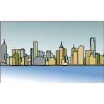 Melbourne skyline vector illustration