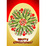 """Merry Christmas"" poster with Christmas flowers vector clip art"