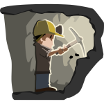 Cartoon figure of miner at work vector clip art