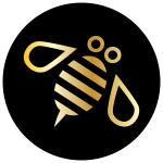 minimal bumble bee for ocal gold black circle