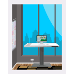 Working desk with city view vector image