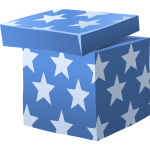 Vector illustration of blue gifting box with lid