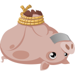 Vector drawing of tied pig