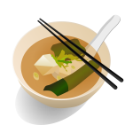 Miso soup serving vector drawing