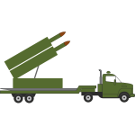 Missile truck vector graphics with rocket artillery