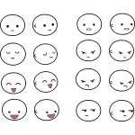Vector drawing of ex<x>pressions emoticon-like sets
