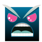 Vector illustration of angry square with face