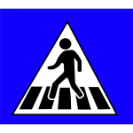 Pedestrian crossing traffic caution sign vector drawing