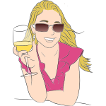 Woman tasting wine vector clip art