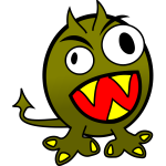 Vector image of angry green monster