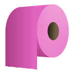 Toilet paper roll in pink vector illustration