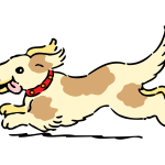 Happy running dog vector image