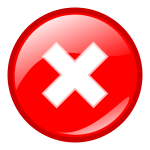 Red round error warning vector icon