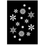 Vector image of white snowflakes on black background
