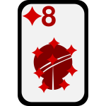 Eight of Diamonds funky playing card vector clip art