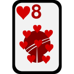 Eight of Hearts funky playing card vector clip art
