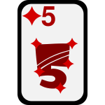 Five of Diamonds funky playing card vector clip art