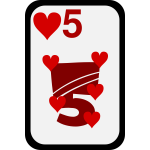 Five of Hearts funky playing card vector clip art