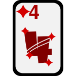 Four of Diamonds funky playing card vector clip art