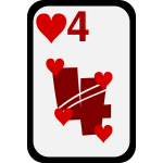 Four of Hearts funky playing card vector clip art