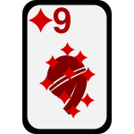 Nine of Diamonds  funky playing card vector clip art