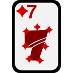 Seven of Diamonds funky playing card vector clip art