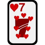 Seven of Hearts funky playing card vector clip art