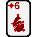 Six of Diamonds funky playing card vector clip art