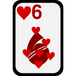 Six of Hearts funky playing card vector clip art