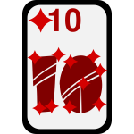 Ten of Diamonds funky playing card vector clip art