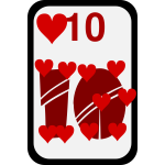 Ten of Hearts funky playing card vector clip art