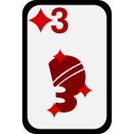 Three of Diamonds funky playing card vector clip art