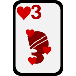 Three of Hearts funky playing card vector clip art