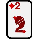 Two of Diamonds funky playing card vector clip art