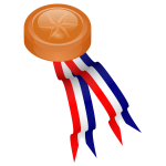 Bronze medal with blue, white and red ribbon vector drawing