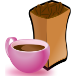 Vector image of pink cup of coffee with sack of coffee beans