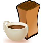 Vector image of beige cup of coffee with sack of coffee beans