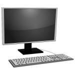 Desktop PC icon with gray monitor vector image