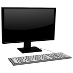 Vector image of monitor with keyboard