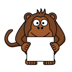 Monkey with white card