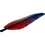 Vector illustration of tilted red and blue feather