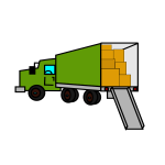 Opened relocation truck vector clip art