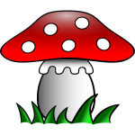Red mushroom in grass