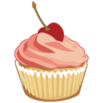Pink muffin with cherry