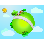 Vector graphics of little world