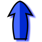 Outlined blue arrow