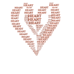 Heart shape outlined with words vector image