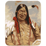 Native American man smiling vector clip art